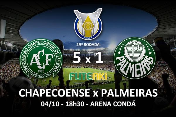 Veja o resumo da partida com os gols e os melhores momentos de Chapecoense 5x1 Palmeiras pela 29ª rodada do Brasileirão 2015.