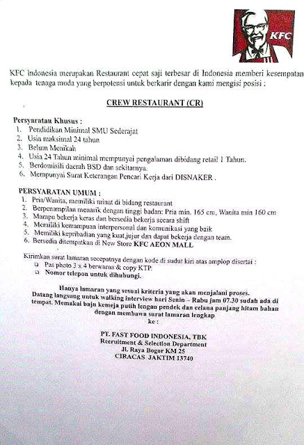 Lowongan Kerja PT. Fastfood Indonesia Tbk Terbaru