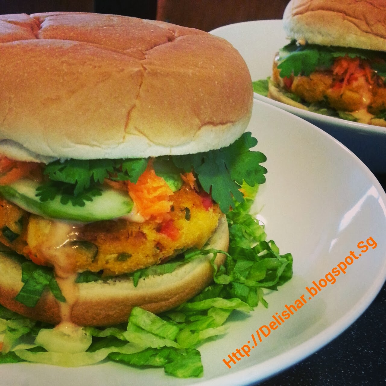 Baked Crab Cake Burger with Singapore Chilli Crab Mayo Dressing