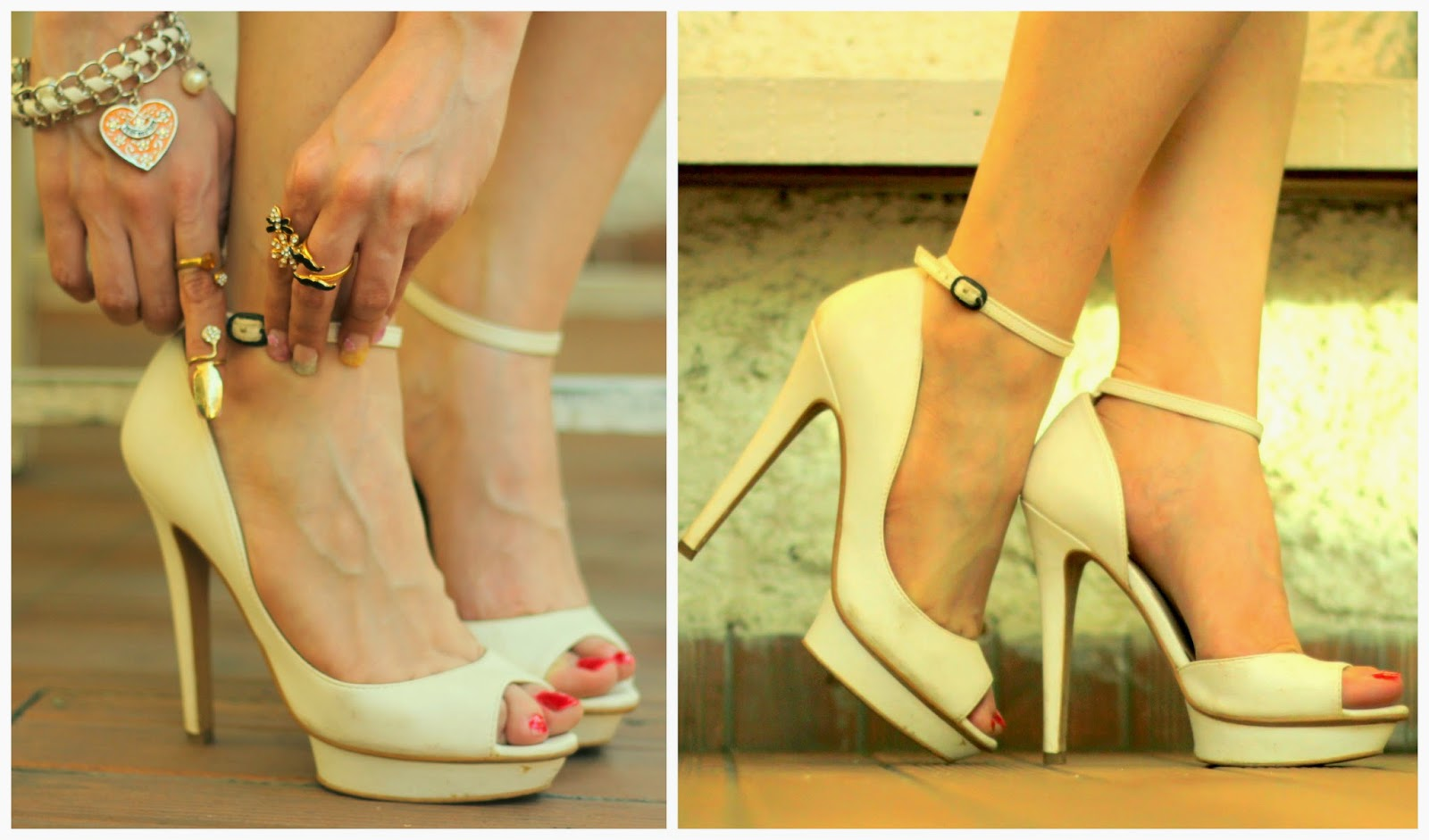 White Bershka Peep-toe heels