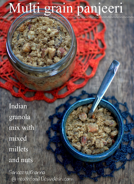 panjeeri is a desi granola mix ; a recipe of mixed millet panjeeri and a millet workshop in Hyderabad