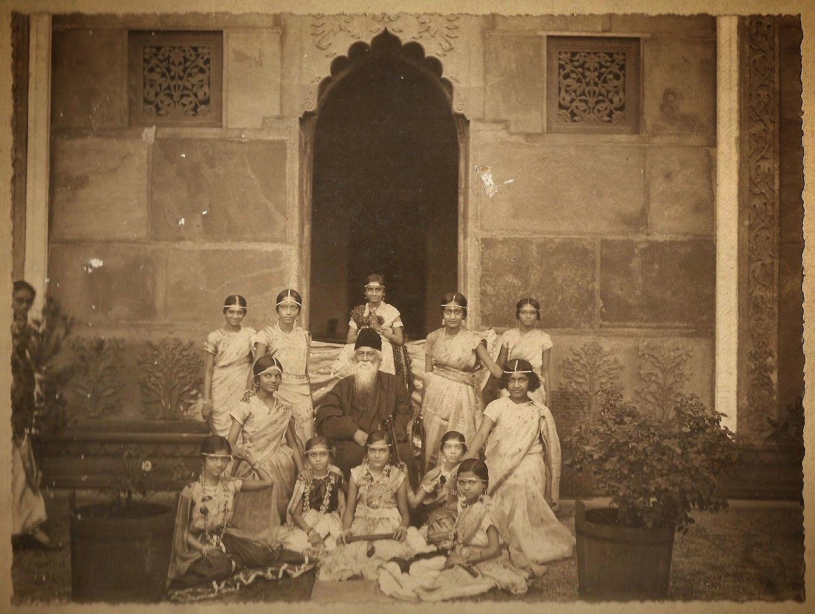 Rabindranath Tagore with Group of Girls in Costume for a Drama Performance
