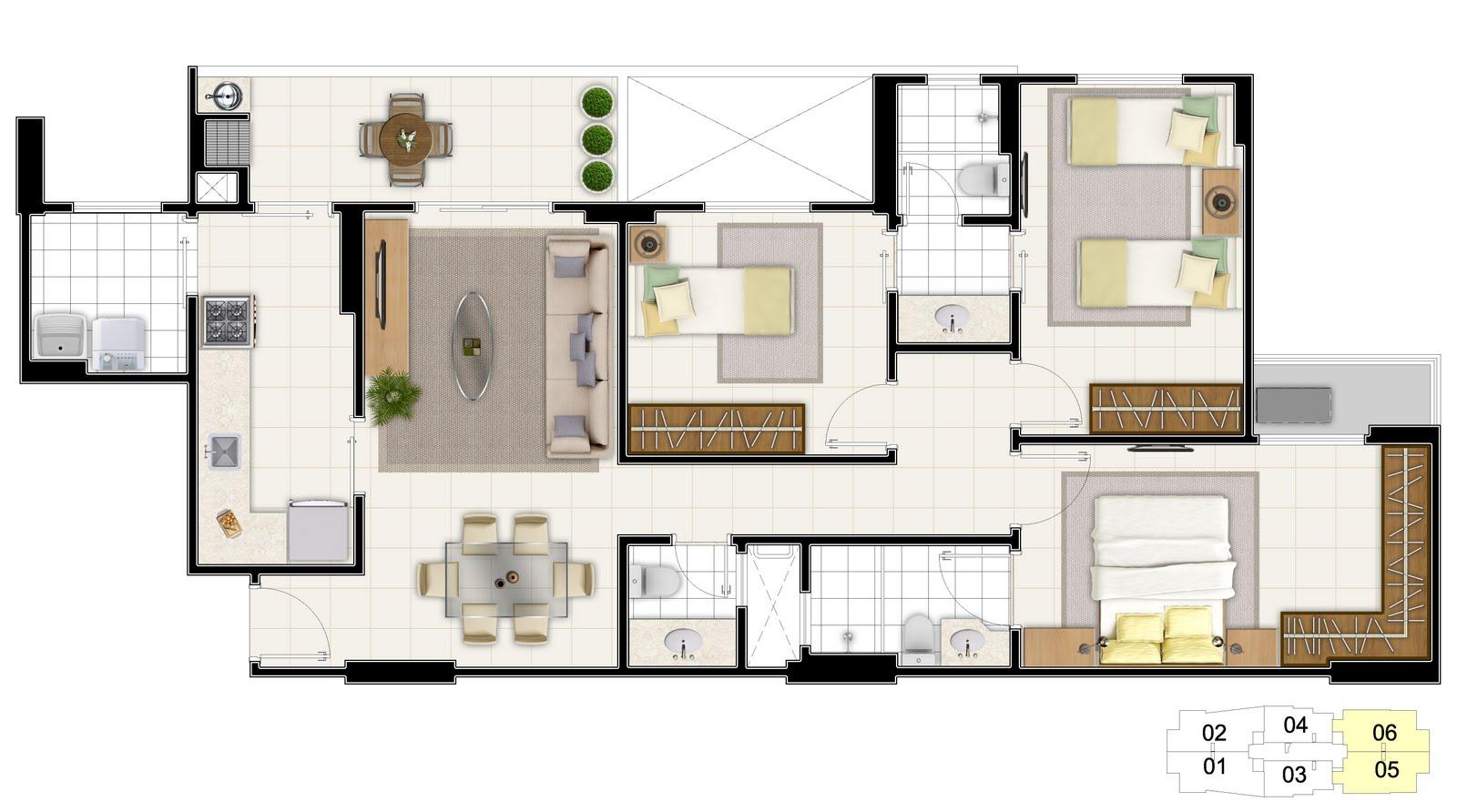 Plantas casas 3 quartos com suite for Plantas para casa