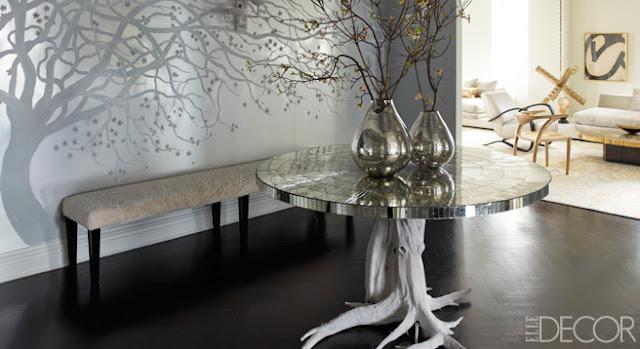 elle decor beautiful gray silver white neutral foyer living room