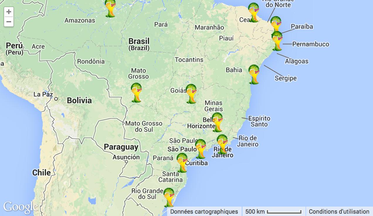 Geo by the cloud la carte du dimanche la coupe du monde 2014 dans un mois - Carte coupe du monde 2014 ...