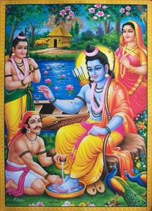 Shri Ram ke charan dhote hue Kevat