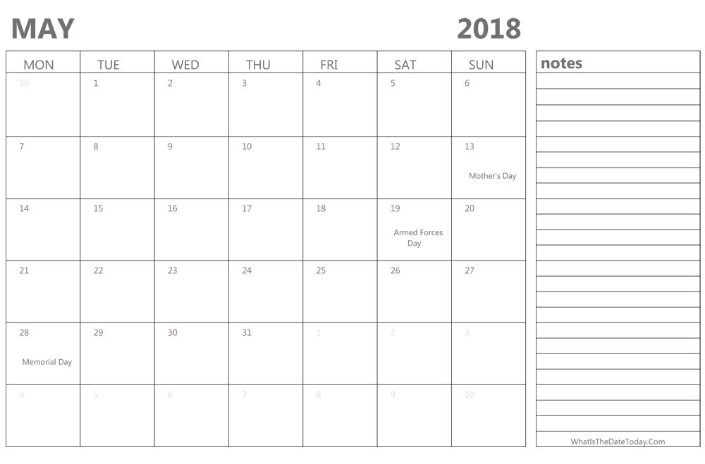 Free May 2018 Calendar Printable Blank Templates Get Printable