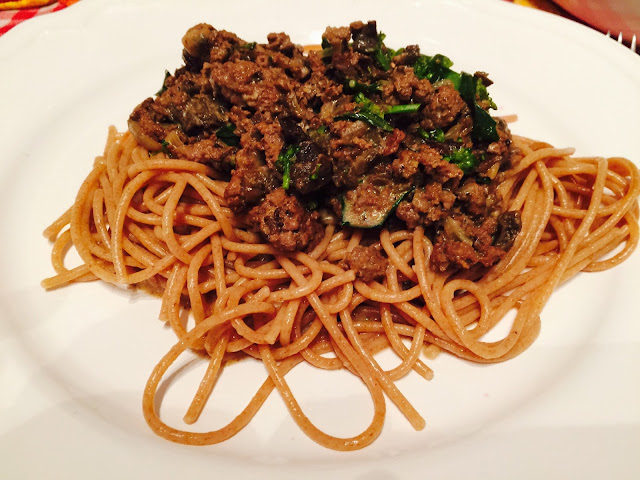 Ground moose and funnel chanterelle stroganoff with spelt spaghetti