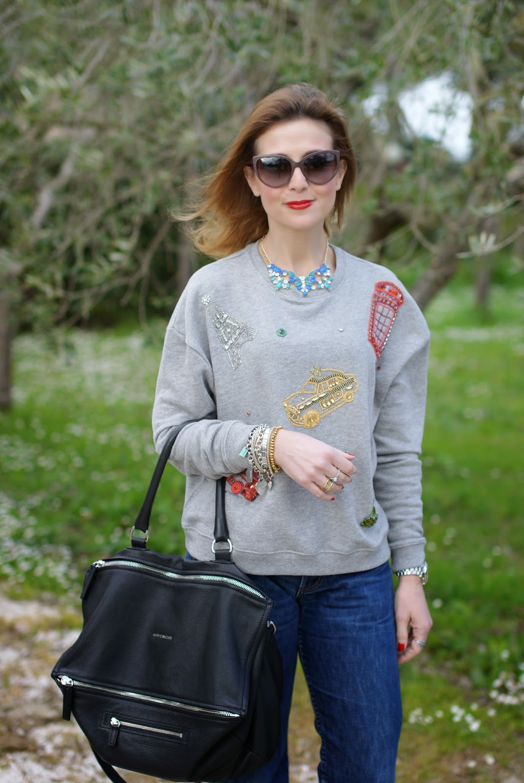 Givenchy Pandora grande, Zara embroidered sweatshirt, Fashion and Cookies, fashion blogger