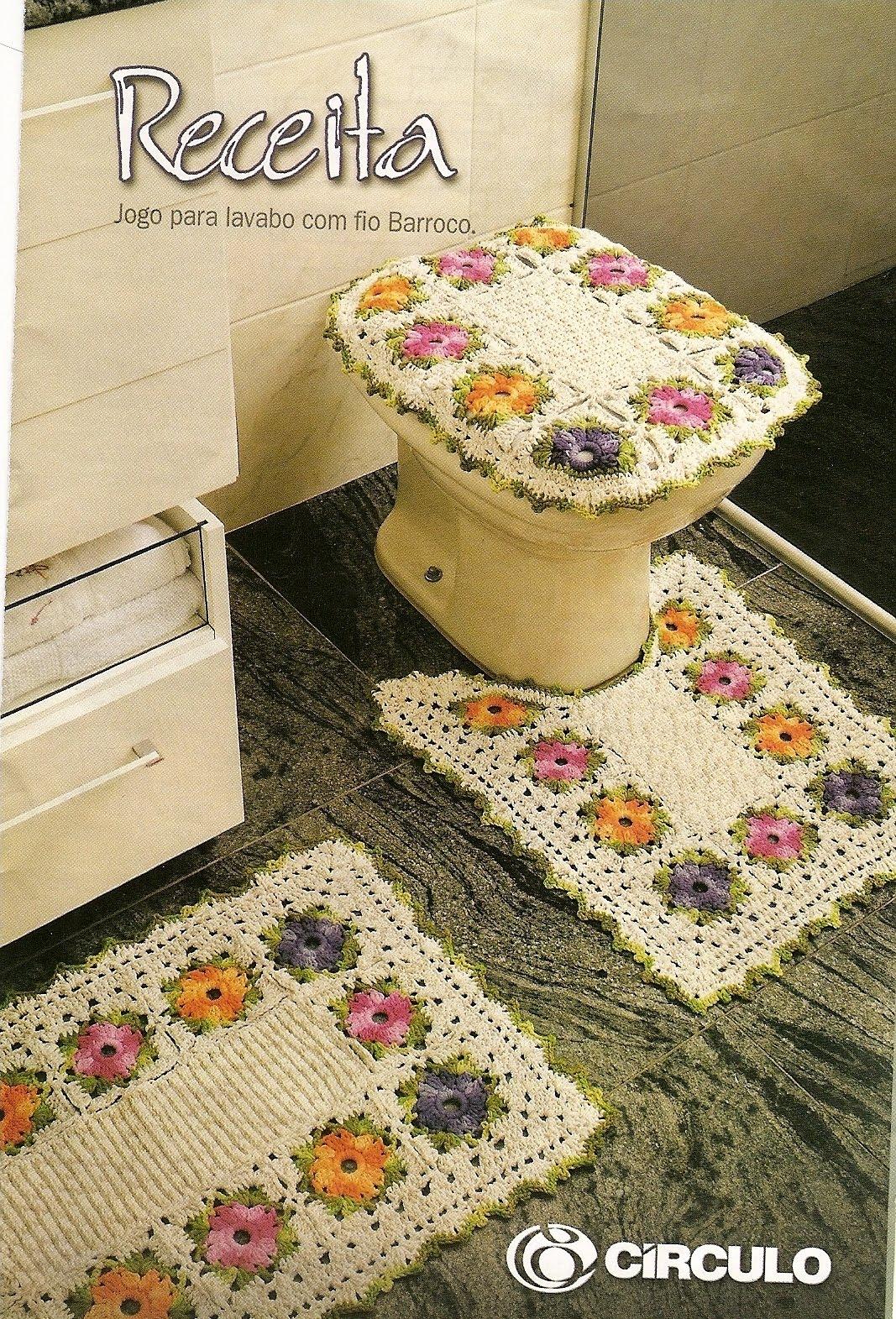 Jogo de Banheiro: crochê de flores