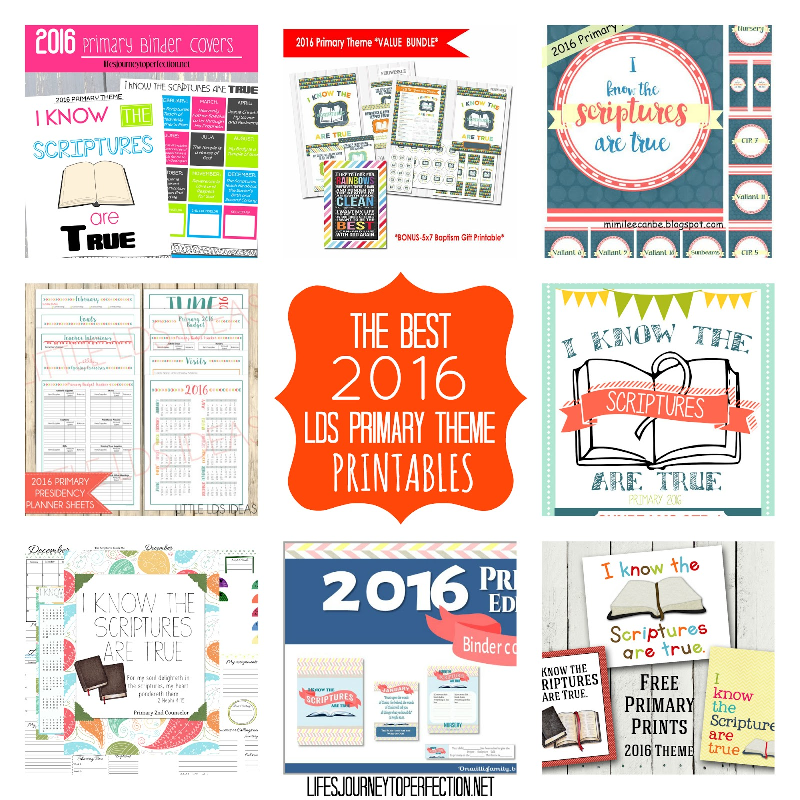 Life\'s Journey To Perfection: 2016 Primary Theme Printables Round-up ...