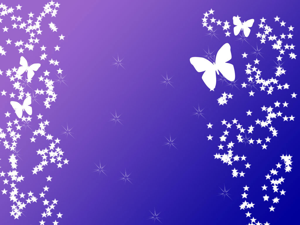 butterfly with stars on purple powerpoint template