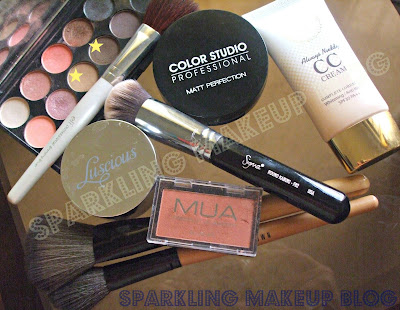Sigma F82, Elf crease brush, elf bronzing brush, elf blending brush, Sleek Makeup Oh So Special,MUA pearl shadow 25, Mua blusher #3, Classic lipstick #53, Luscious Shimmer Fairy Dust, Mua eye primer, Mua brush on pen concealer, Color studio soft kohl jasmine, Karaja Kohl pencil, Maybelling Colossal Kajal, Mua liquid eyeliner#3, Elisha Coy CC cream, Color studio Matt perfection foundation