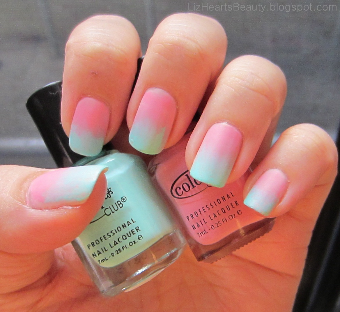 Cotton Candy Satin Fingernail Polish: Liz Hearts Beauty!: Cotton Candy Gradient Nails