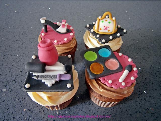 cupcakes zapato, cupcakes pintauñas, cupcakes sombras, cupcake bolso