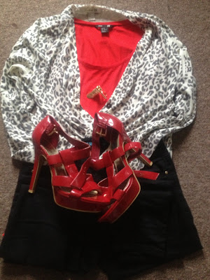 Animal Print Cardigan and Red shoes