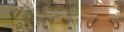 Estado anterior y actual de algunos elementos decorativos de la fachada de calle Marqués de Guadiaro 3