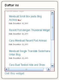 daftar isi blog,widget,list of content, reading list