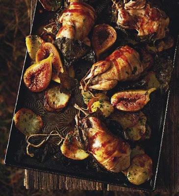 Roasted quails in vine leaves with figs and crispy potatoes