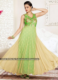 Green n Beige Net Ankle Length Suits / Green Eid Fancy Dresses