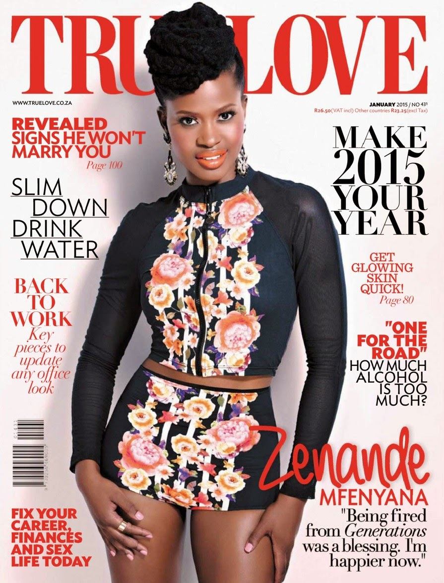Zenande Mfenyana - True Love Magazine, South Africa, January 2015.