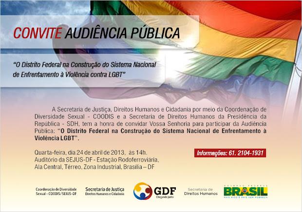 DF tem Audiência Pública sobre o Sistema Nacional LGBT na quarta