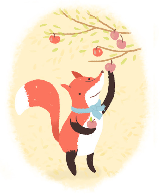 fox, art, penguin and fish, society6, autumn, fall, apple