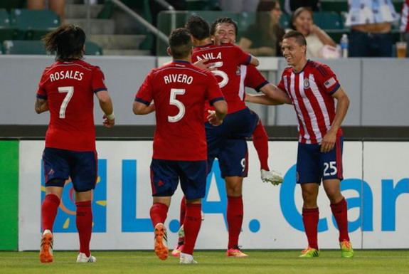 Erick Torres celebrates with Chivas USA teammates after scoring a goal against Real Salt Lake