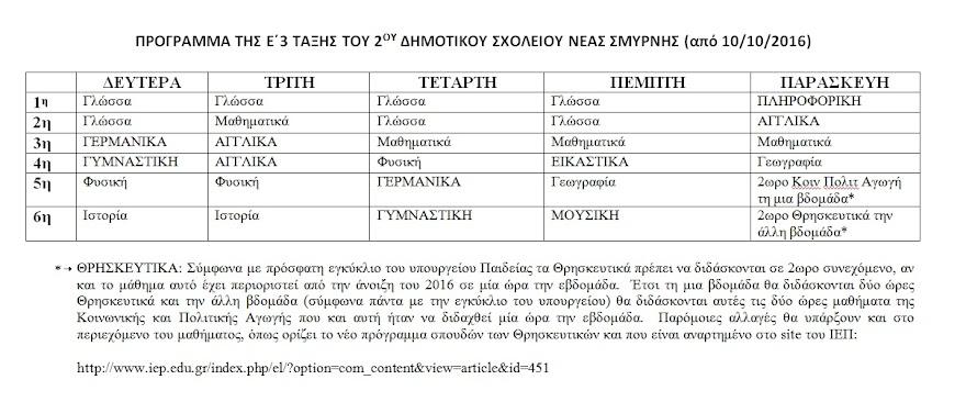 ΠΡΟΓΡΑΜΜΑ ΜΑΘΗΜΑΤΩΝ
