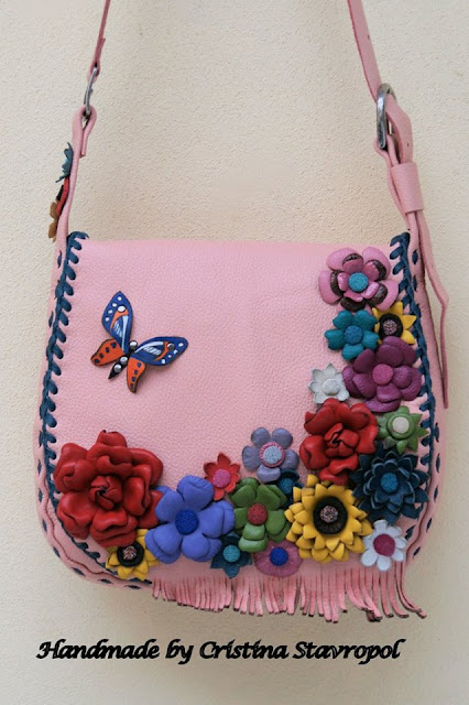 geanta din piele pink