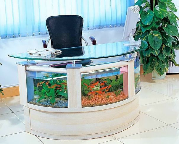 20 Akuarium Paling Unik dan Kreatif di Dunia : Aquarium Office Table