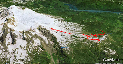 Our Hike Route of Park Butte Fire Lookout and Easton Glacier (via Canon GPS Logger and Google Earth)