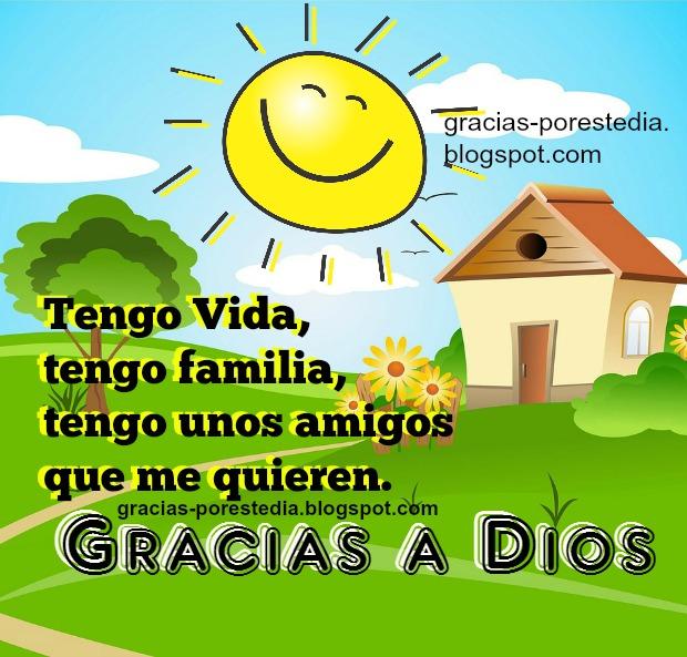 mensaje cristiano gracias a Dios, agradecimiento por familia, amigos, vida. Palabras para facebook con imagen bonita cristiana.