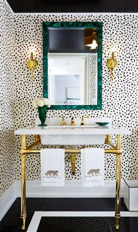 Fantastic Bathroom Features Bold Black Ceiling Over Thibaut Tanzania Wallpaper On Cream Framing Malachite Mirror Made Goods Vivian