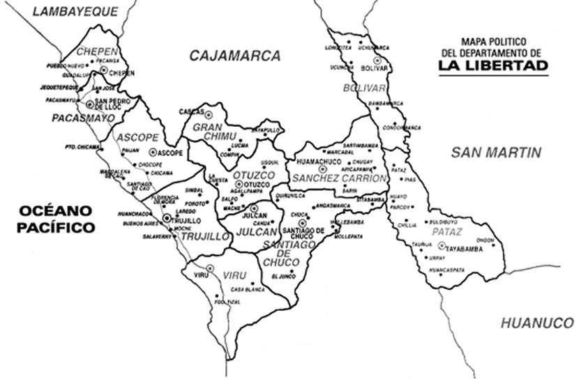 CuentosDeDonCoco.Com: MAPA DEL DEPARTAMENTO DE LA LIBERTAD PARA COLOREAR