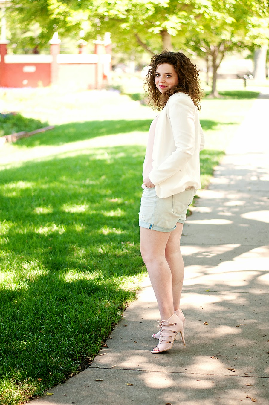 Summer White Blazer Outfit with Denim Shorts and Lace Up Heels