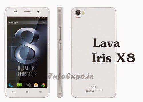 Lava Iris X8: 5 inch,1.4 GHz Octacore Android Phone Specs, Price