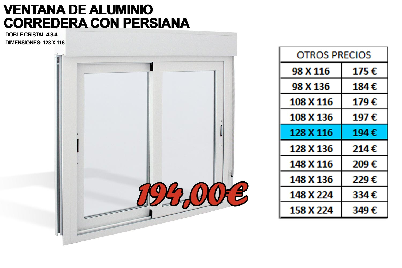 Ofertas en ventanas de aluminio cerramientos valencia for Precio ventanas aluminio a medida