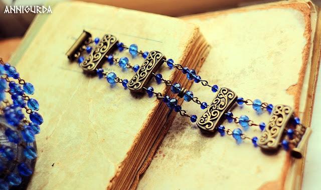 украшения, бижутерия, женские украшения, комплект украшений, сережки, браслет, синий, винтаж