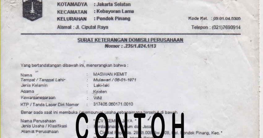 Syarat Surat Keterangan Domisili Usaha Skdu Ngurus Ijin