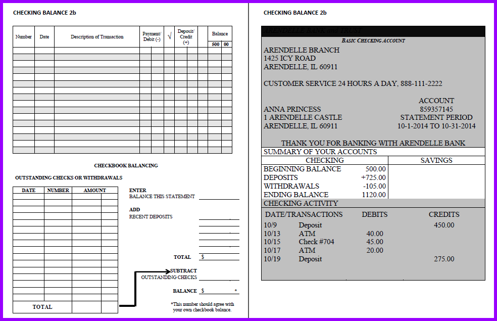 facs classroom ideas balancing checkbooks