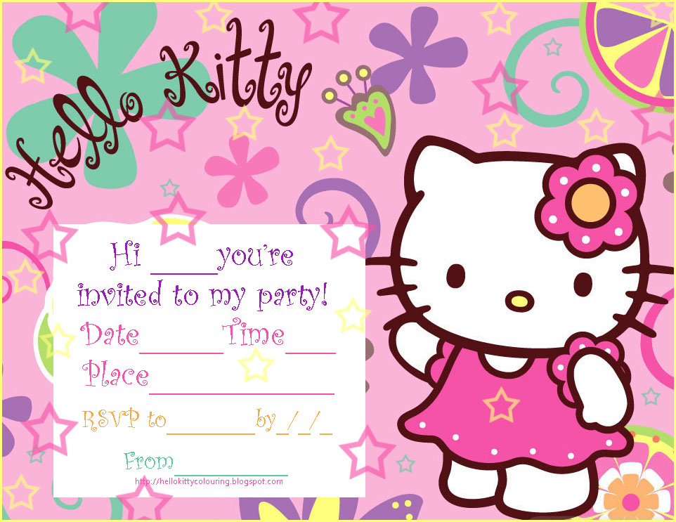 INVITATIONS TO SLEEPOVER PARTY HELLO KITTY