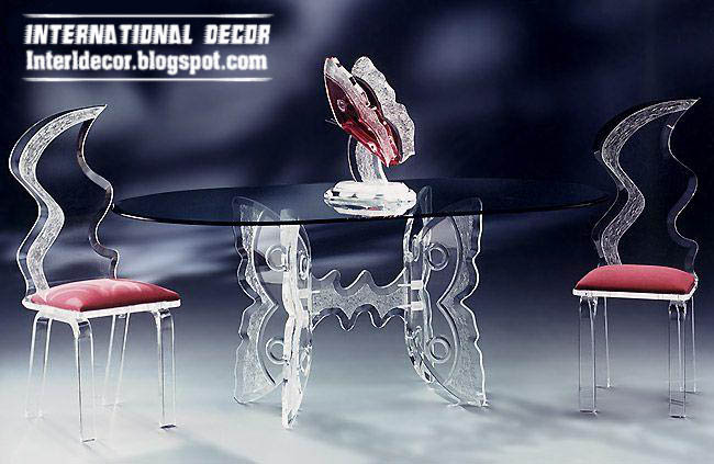 Luxurious Glass Table, Glass Chairs Furniture Design 2013