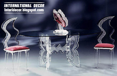 luxurious glass dining room furniture, glass table and chairs furniture design