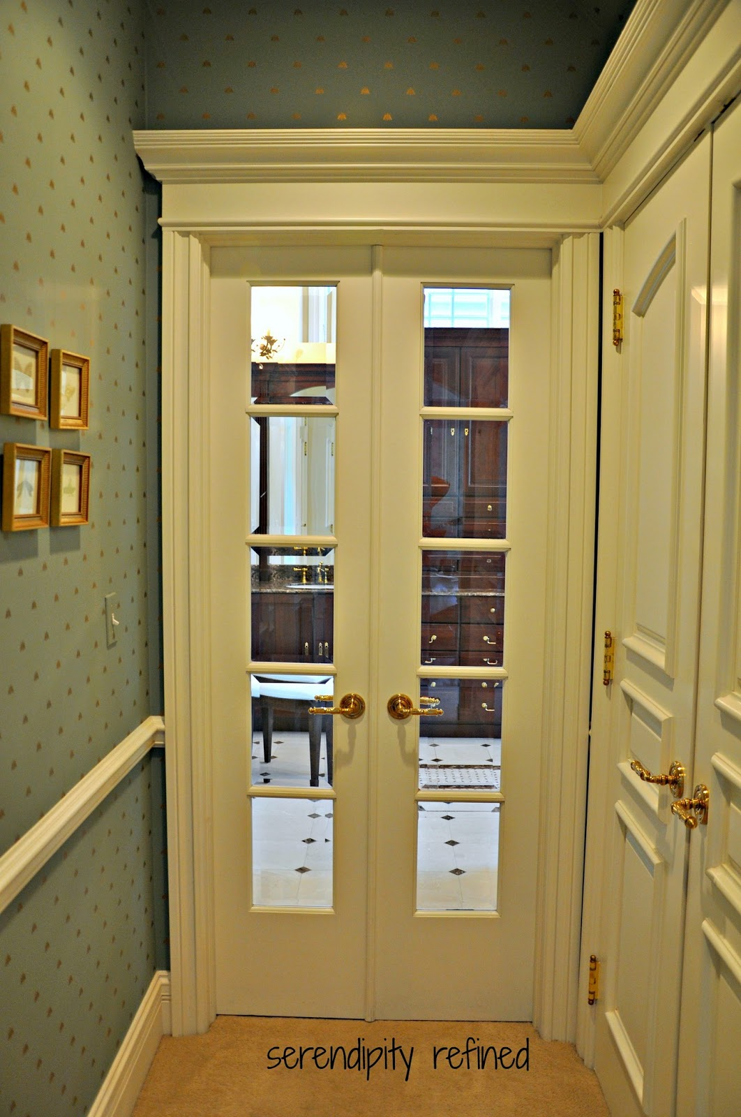 Serendipity refined blog master bathroom reveal for Narrow double french doors