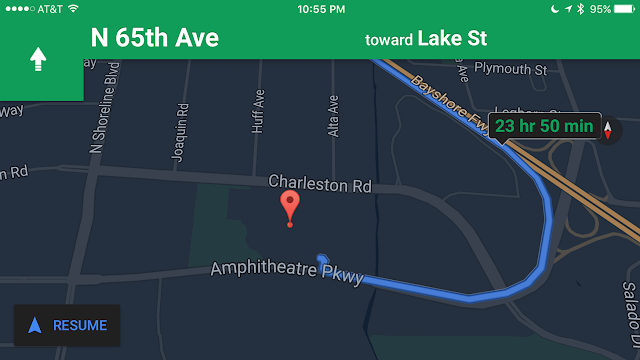 "A screenshot of the new Google Maps ""Night Mode"" Update"