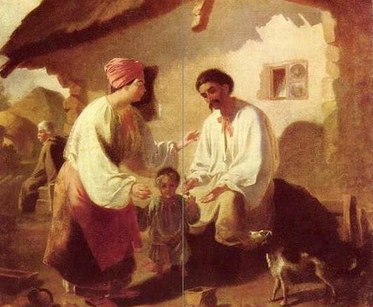 Тарас Шевченко. Крестьянская семья. 1843 г.