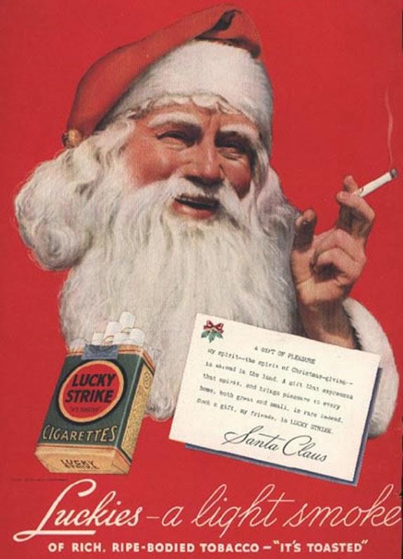Propaganda com Papai Noel fumante da Lucky Strike, anos 40.