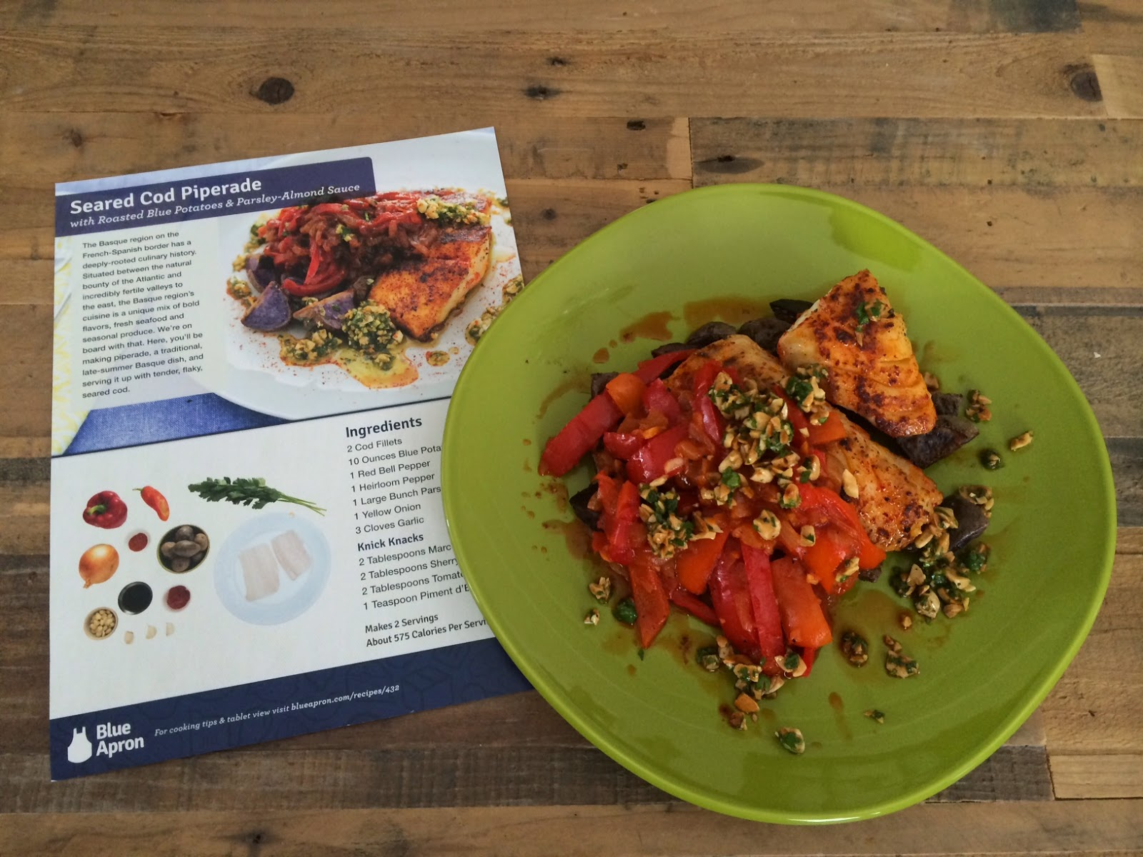 Blue apron history - Seared Cod Piperade With Roasted Blue Potatoes And Parsley Almond Sauce