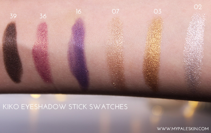 KIKO Longlasting Stick Eyeshadow Haul Swatches Pale skin Blog My Pale skin by terry dupe